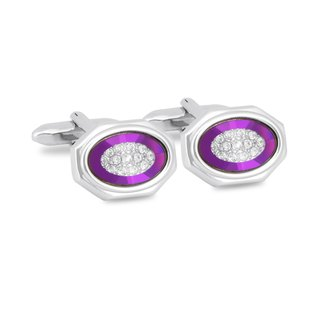 Silver Octagon Purple Bezel with Crystals Cufflinks