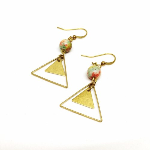 Triangle◆Brass Earrings-Natural stone /Gemstone / Brass / Bracelet Jewelry design