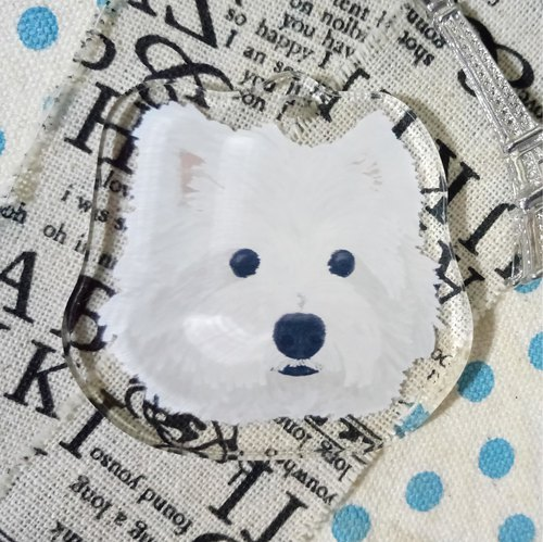 Oil painting bulk - West Highland White Terrier ~ acrylic strap (excluding key ring)