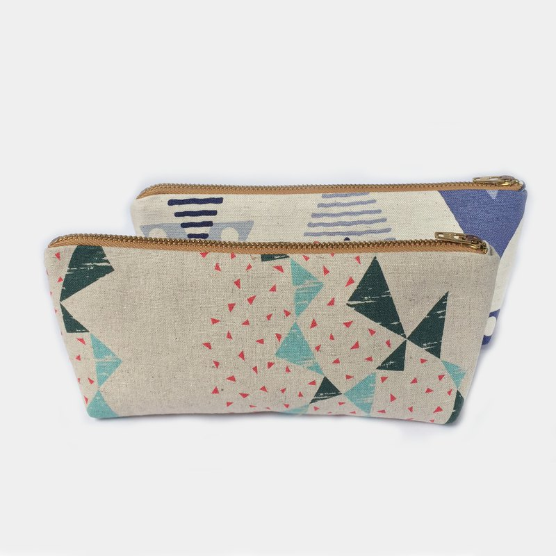 Pencil Pouch - Geometric Triangles Green Turquoise Red