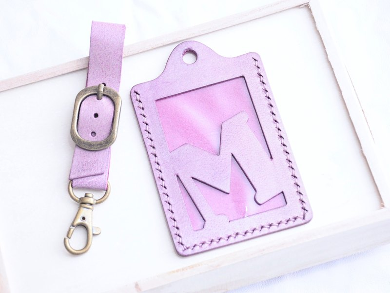【White Wax Purple ORCHID - First Letter A to Z English Letter Bag Checks】 Good Sewing Leather Bags Free Taps Manual Bags Wax Wipes Wipes Waffles Card Holder Card Holder Card Holder Baggage Trip Travel Guardware Clip Clip Simple and Practical Italian Leathe