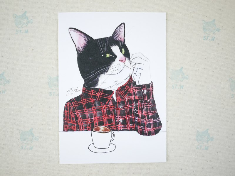 Coffee handsome cat postcard
