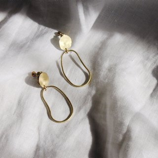 Hand Forged Oval Brass Dangle Earrings - Sterling Silver Posts / Clip-Ons