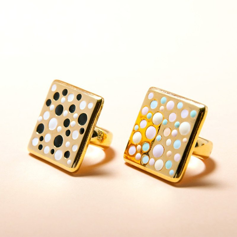 Pastel and Black & White Polka Dot On Gold Square Ring, Square Ring, Large Square Ring, Enamel Polka Dot Ring, Pastel Ring, Black and White Ring