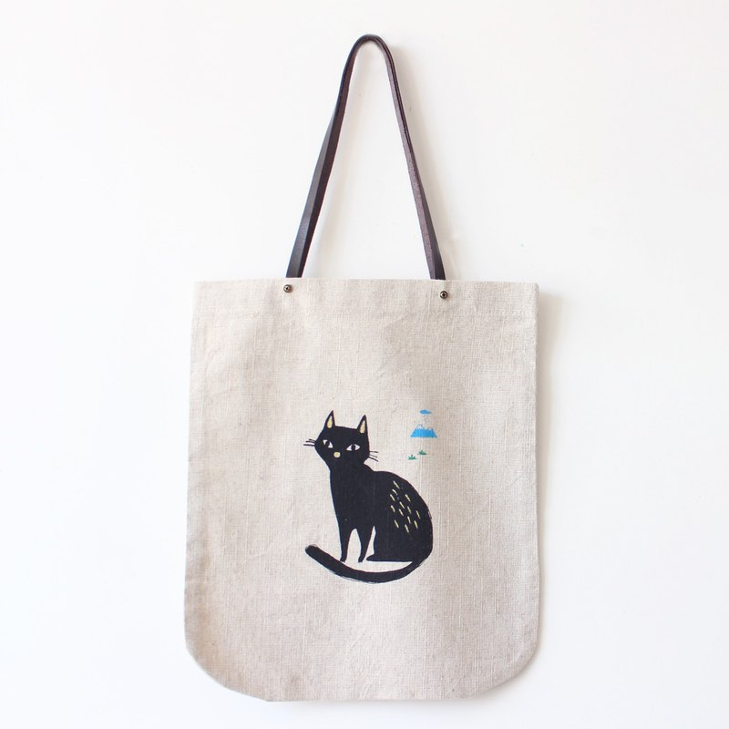 Quite Black Cat & Mountain Screen Print Handmade Tote Bag I Cat Lover