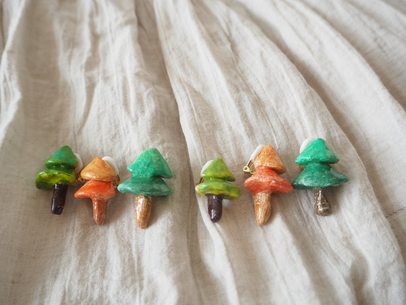 Four seasons small tree ear clip ear studs handmade clay ultra light texture