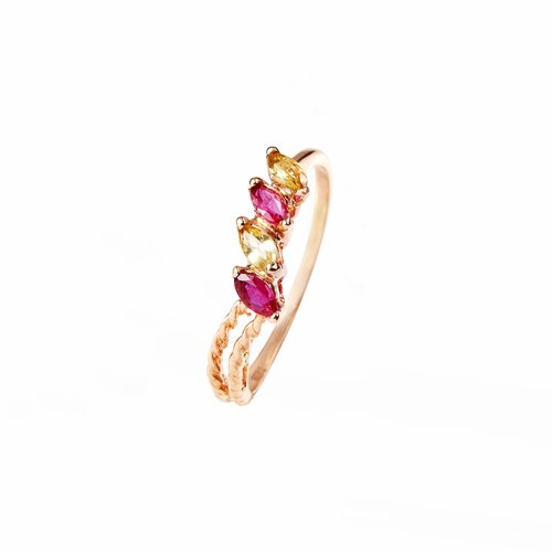 18K gold hand detail red ruby ​​yellow sapphire retro style twist pattern finger