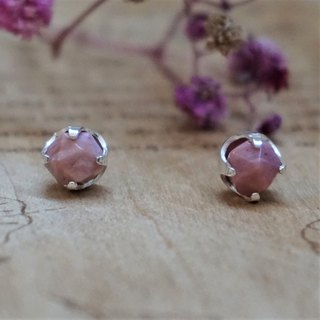 << Pink Planet >> Rosehip Stone Earrings 925 Sterile Silver Ears Ear Ears