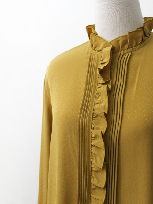 [RE0310T1830] Nippon retro vintage ginger yellow collar shirt