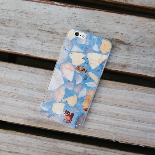 Original Blue Terrazzo Phone case (iPhone,Samsung model) with hard shell frosted back case
