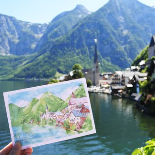 Rami European travel watercolor hand drawn wind postcard - postcard landscape town of Xutat austria