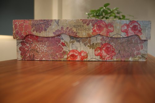 Wood storage box pencil box Butterfly Valley Bart hand-made art Decoupage handmade design