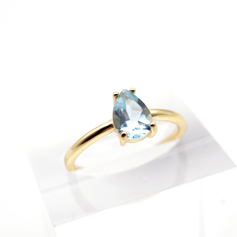 DROPLET SKY BLUE TOPAZ RINGS ( SILVER/ 18KG/ ROSEGOLD ) | TOPAZ COLLECTION