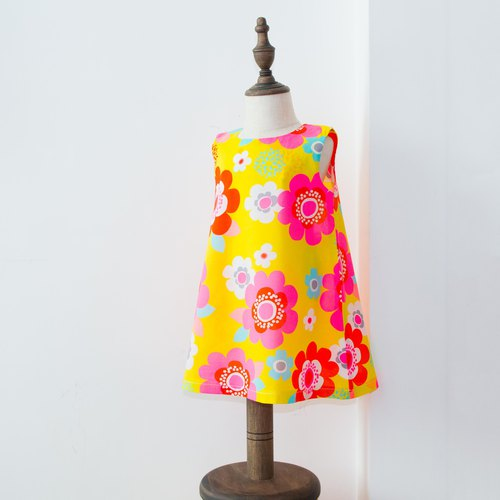 Yellow / Pink Floral Kids Dress