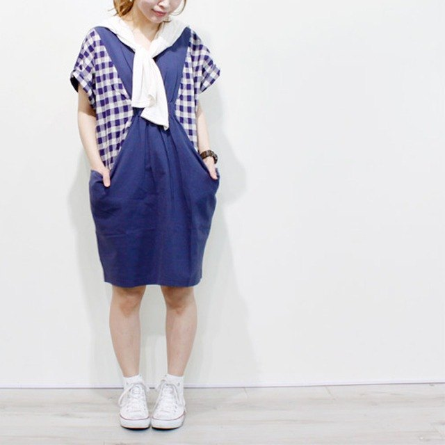 ☆ Palette ☆ 彡 linen blending check dress