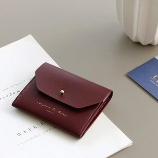 ICONIC Staff Style Leather Ticket Holder Coin Purse M-Bogen Red, ICO52194