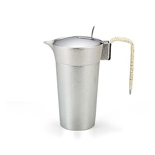 Pure tin warm wine cup (L) with cover
