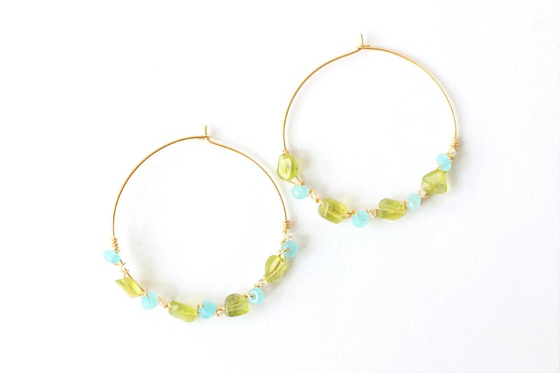 Peridot wire wrapped dangle earrings - 18k gold plated earrings