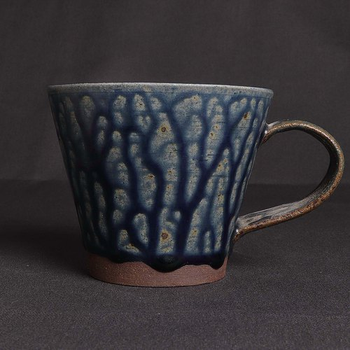 Gray blue flow glaze cup