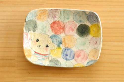 ※ Order Production Powder Dot Colorful Dot and Toy Poodle Square Cake Dish.