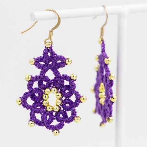 Ethnic star anise flower earrings - violets
