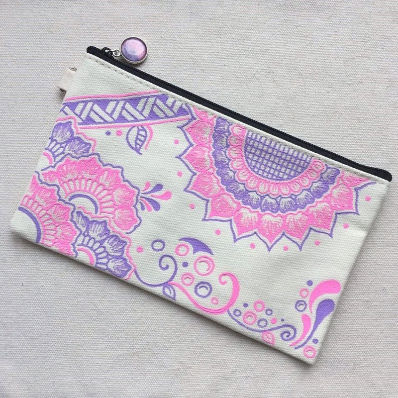 Hand Painted Henna bag Mandala bag Pink Lavender Pattern Zipper Pouch Coin Purse Cotton Cosmetic Bag Pencil Case Phone Wallet Hand Drawn Art