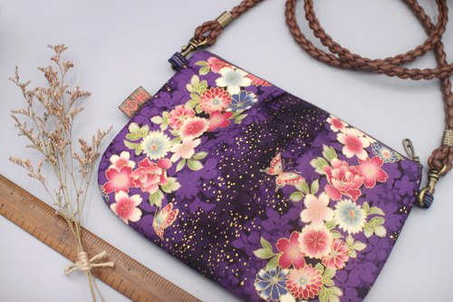 Safe side backpack - purple garden under the stars, Japan feel hot gold, double-sided double back