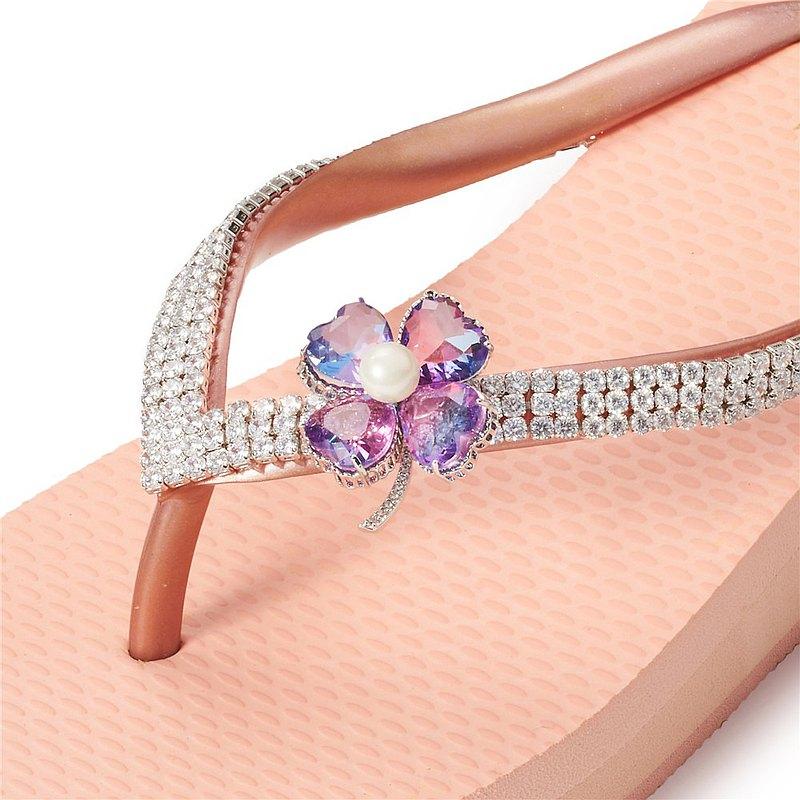 女款3cm厚底夾腳拖鞋-頂級首飾工藝水鑽-幸運草紫彩 粉金