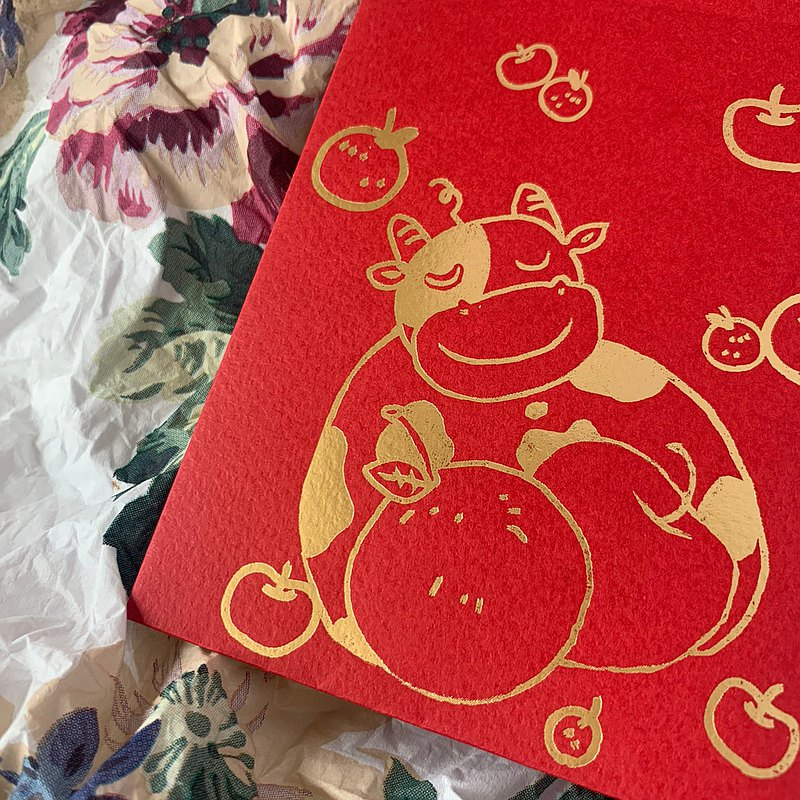 Red envelope bag / cow hug safe / small-three in