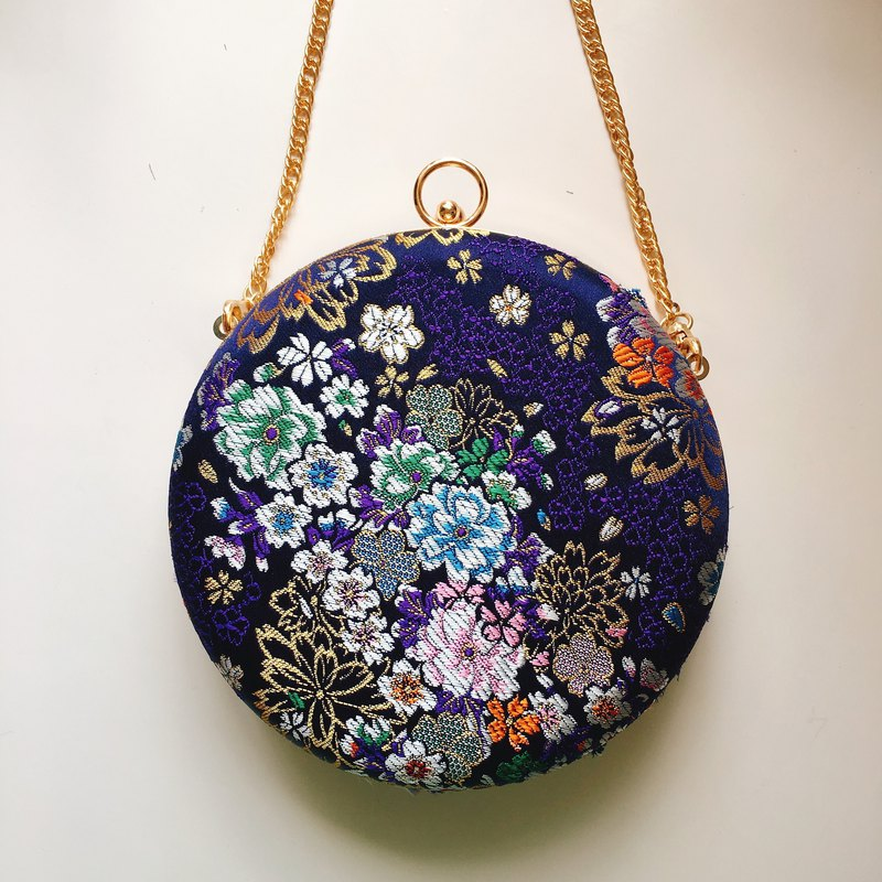 Japanese style purple flower small round bag - can hold / slant back dual purpose