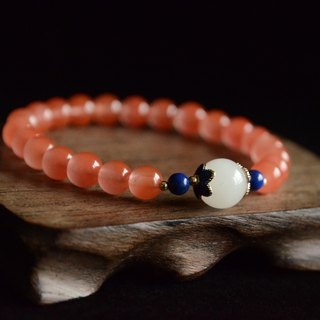 [Blue Garden] Natural South Red Agate Cherry Red Blue Stone Bracelet 7mm