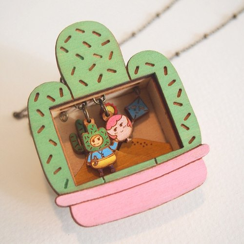 Mr. Cactus and Miss Red Balloon Story Box Necklace