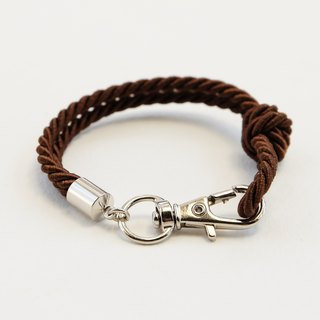 Silver clip bracelet in dark brown color