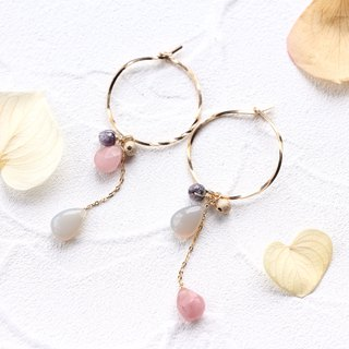 14kgf-guava quartz × gray chalcedony hoop pierced earrings