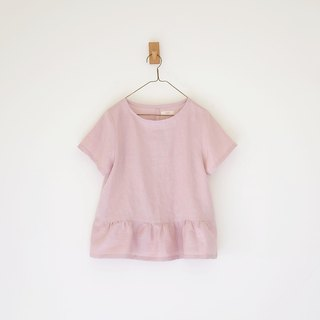 Daily hand-made sweet day retro pink short sleeve smock linen