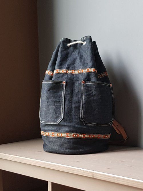 Denim and Leather Drawstring Backpack / Duffle Bag / Sailor Bag / Gym Bag