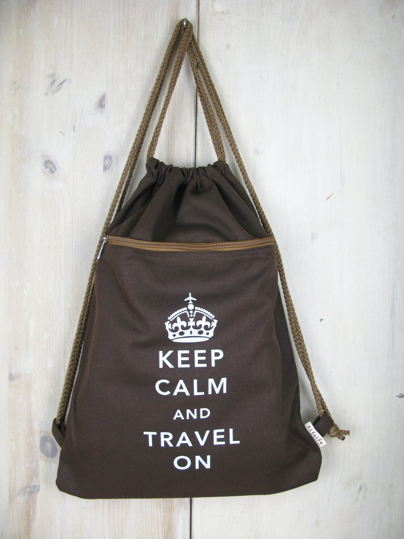 Keep Calm and Travel On England Style Canvas Backpack (Brown)