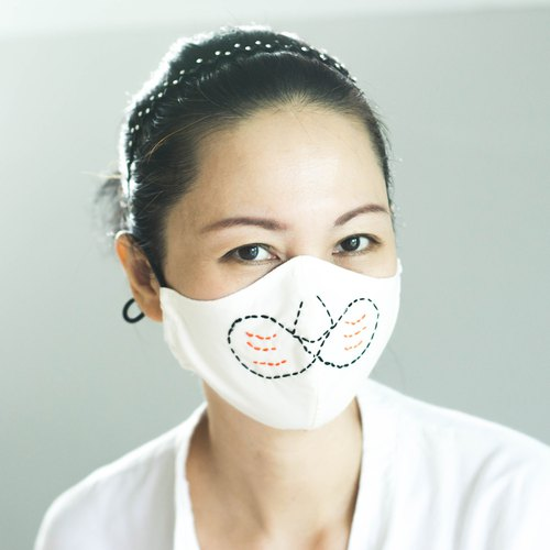 Tigger Face Cute Mouth Cover Mask Freehand Embroidery Ergonomic Breathable