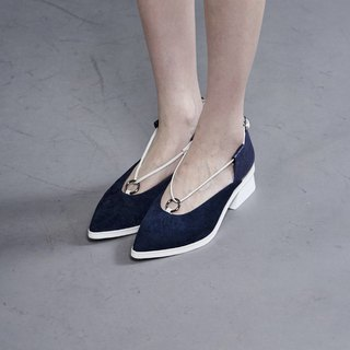 Thin rope small ring stitching thick heel shoes blue