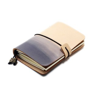 White black gradient leather pocket leather travel handbook book logbook customization