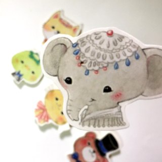 Sticker healing animal group (a group of six up)
