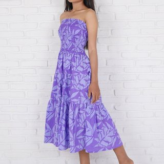 Batik Dyeing Reef Pattern Tiered Dress <Purple>