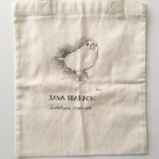Pure hand-painted bird cotton shopping bag ‧ white bird
