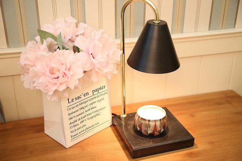 北歐風大理石融蠟燈/蠟燭暖燈-質感黑-送精油大豆蠟燭-現貨