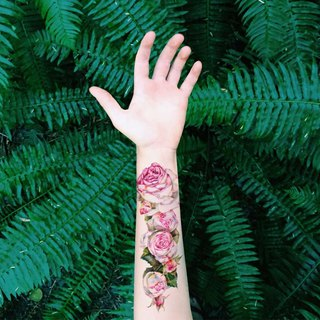 Tu waterproof simulation tattoo, rose arm, lovely pink