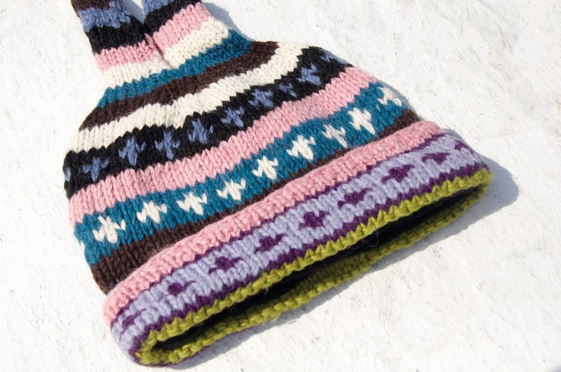 Christmas hand-knitted pure wool hat / handmade bristles caps / knitting caps / elf caps / wool cap - Eastern Europe pink hue (a handmade limited edition)