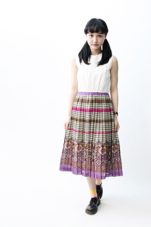 [RE0504D710] Nippon totem national wind stitching sleeveless vintage dress