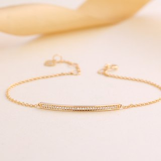 【PurpleMay Jewellery】18k Yellow Gold Simple Diamond Bar Bracelet B002