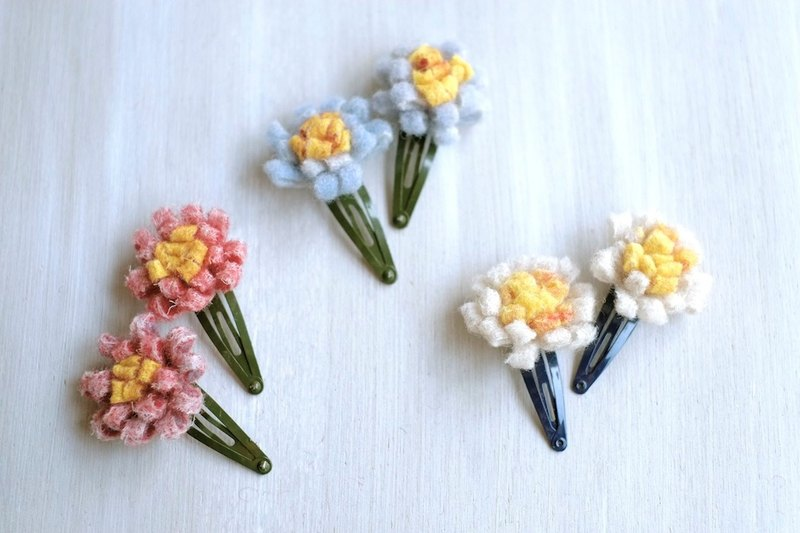 Flower hairpin hair clip felt wool handmade hair accessory