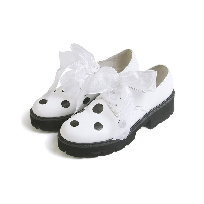 Little lace white leather shoes lambskin shoes - imakokoni